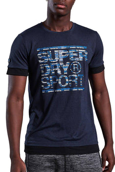 SuperDry Midnight Navy Twist Gym Tech Longline Tee