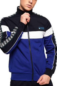 SuperDry Navy/Cobalt SD Tricot Panelled Zip Track Jacket