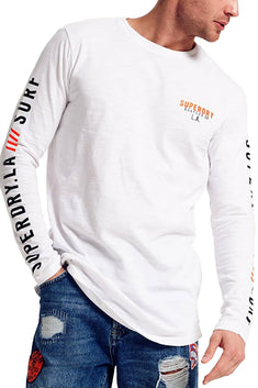 SuperDry Optic-White Surplus Goods Long-Sleeve Longline Top