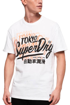 SuperDry Optic-White Ticket-Type Oversized Fit Tee