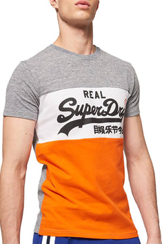 SuperDry Plate-Grey/White/Orange Vintage Logo Panel T-Shirt