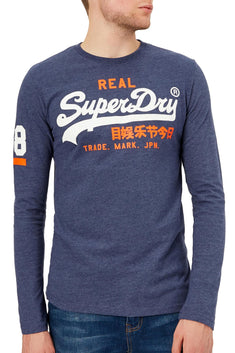SuperDry Princedom-Blue Marl Vintage Logo Duo Long-Sleeve T-Shirt