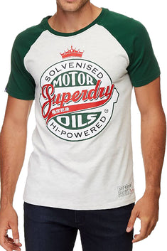 SuperDry Slam-Dunk-Green/Stadium-Silver Reworked Classic Raglan T-Shirt