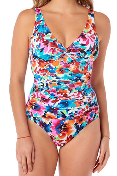 Swim Solutions Multi-Color Labelle-Fleur All-Over Slimming Swimsuit