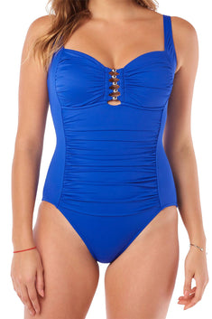 Swim Solutions Royal-Blue Shirred Tummy-Control Swimsuit
