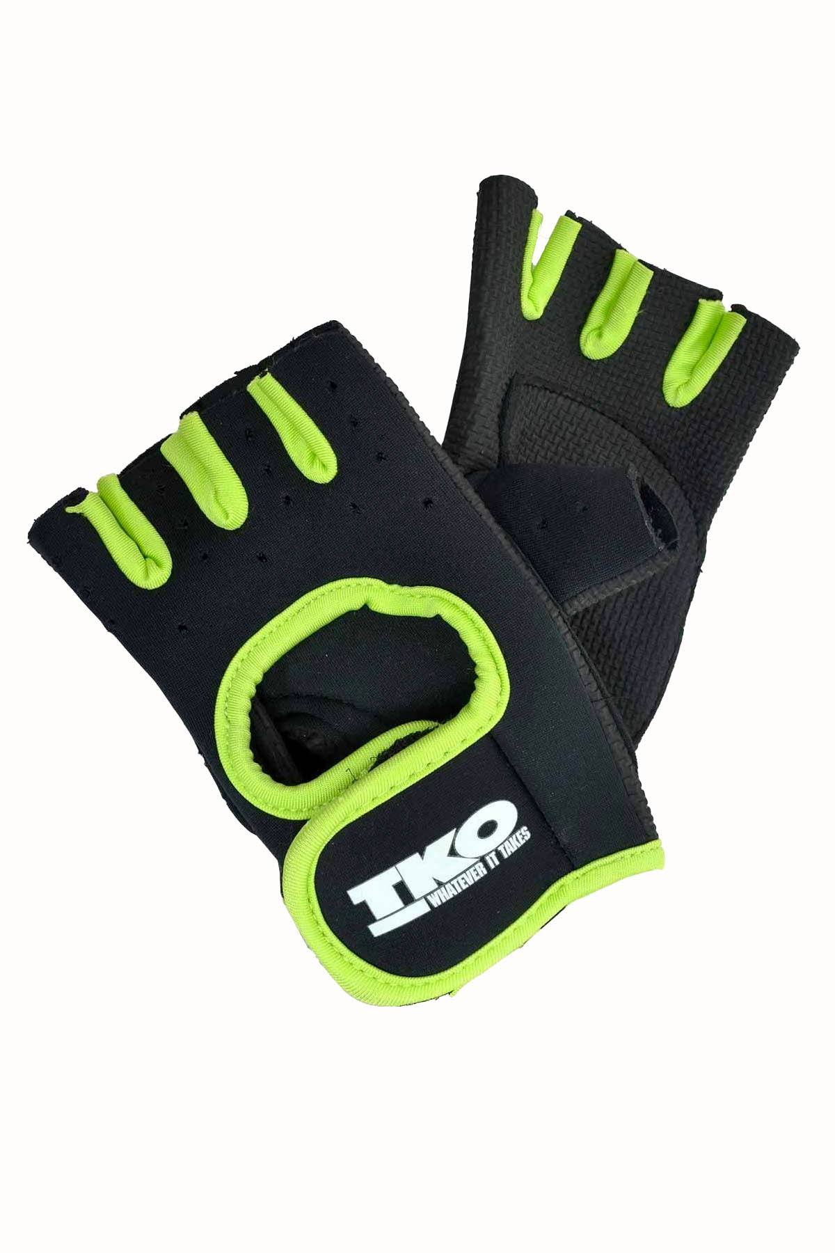 TKO Black & Green Universal Padded Athletic Gloves