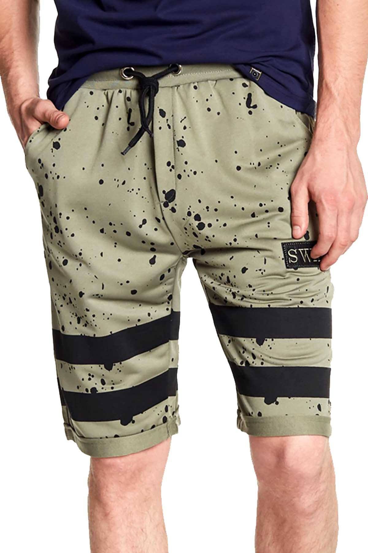 Tailored Recreation Premium Olive Splatter Striped Short