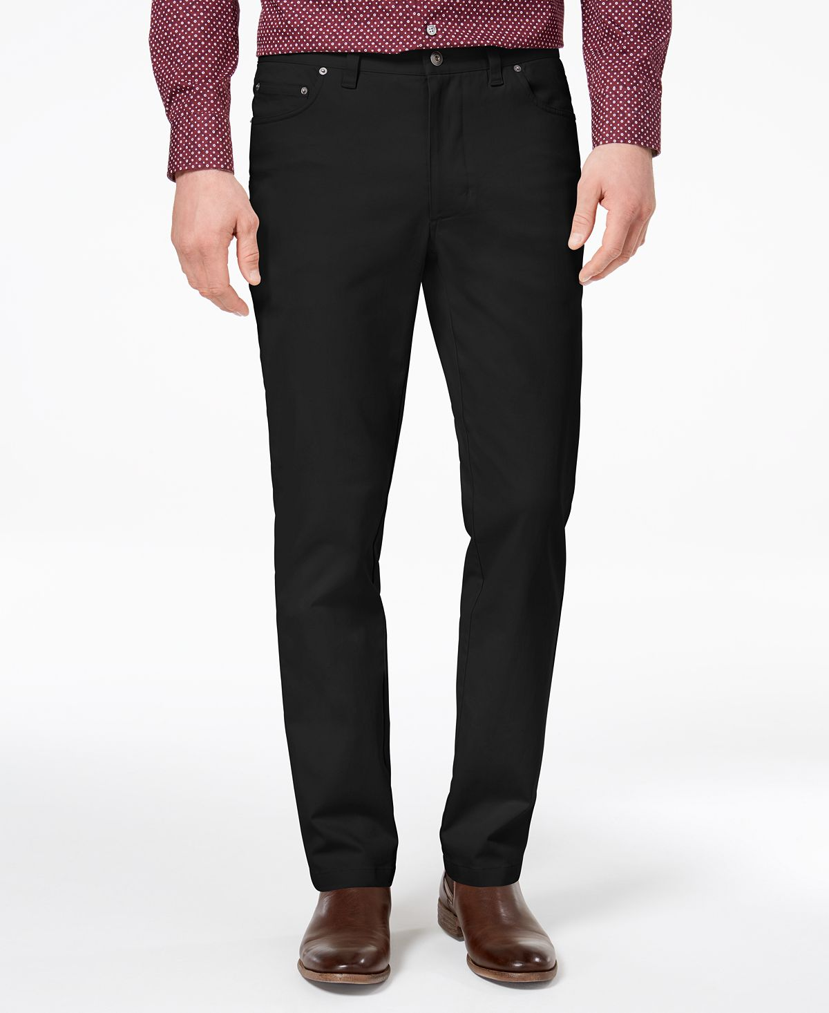 Tasso Elba Straight-fit Stretch Pants Black