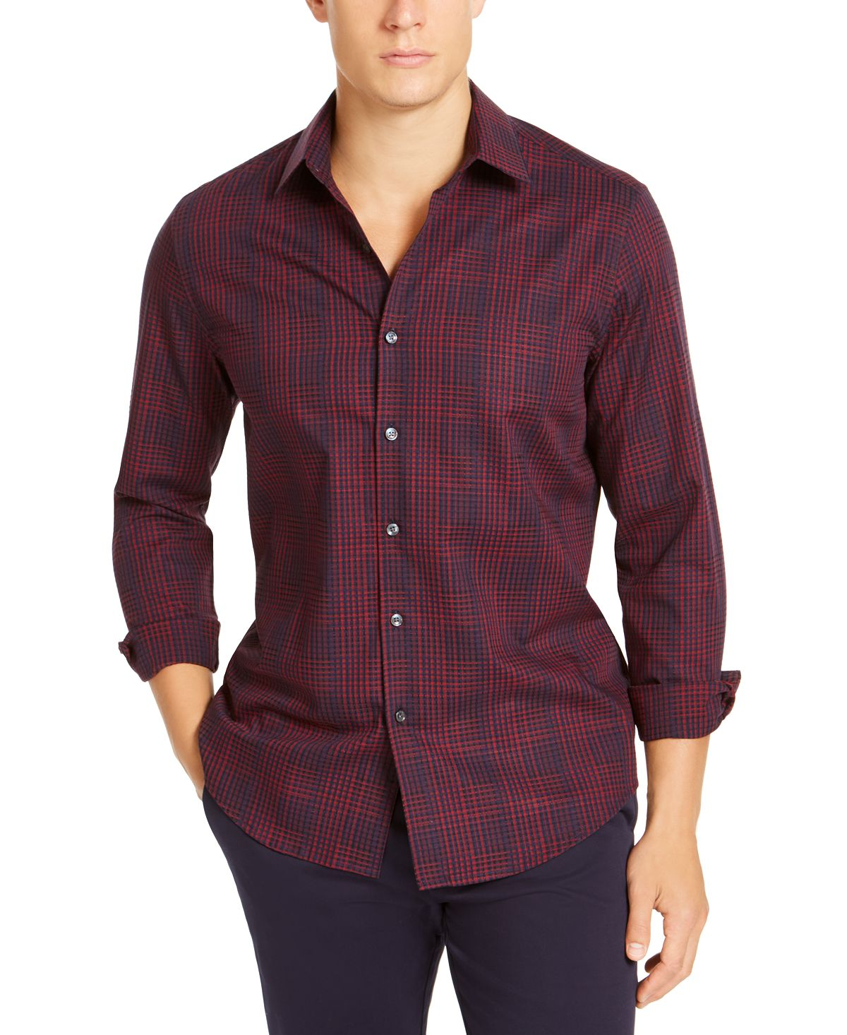 Tasso Elba Stretch Dobby Woven Shirt Red/navy Combo