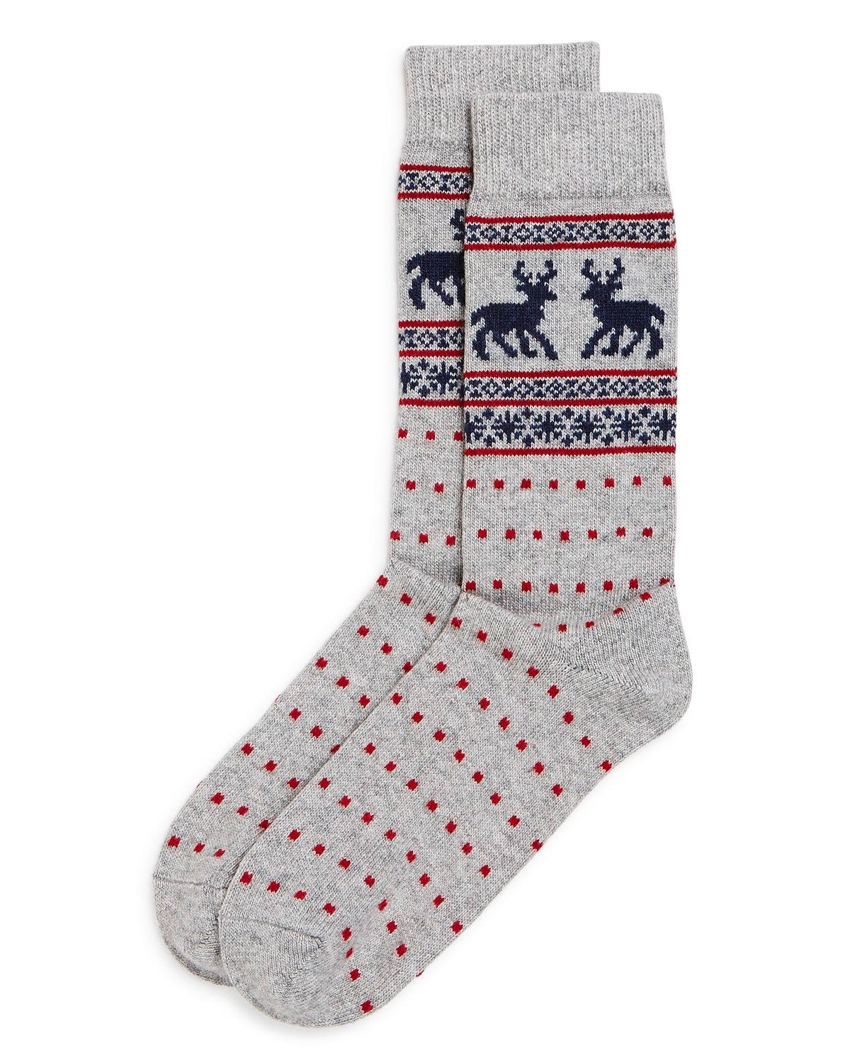 The Men's Store Fair-isle Reindeer Dotted Socks Gray
