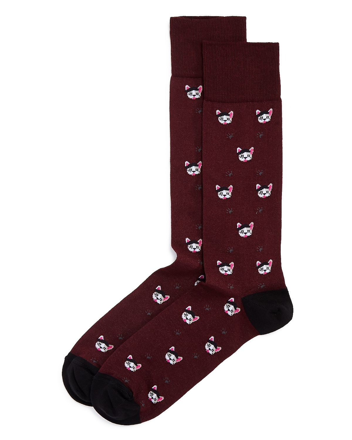 The Men's Store Frenchie Dogs Socks Burgundy