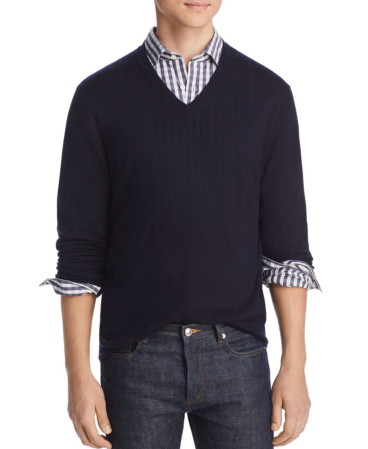 The Men's Store  Lightweight Cashmere V-neck Sweater Navy