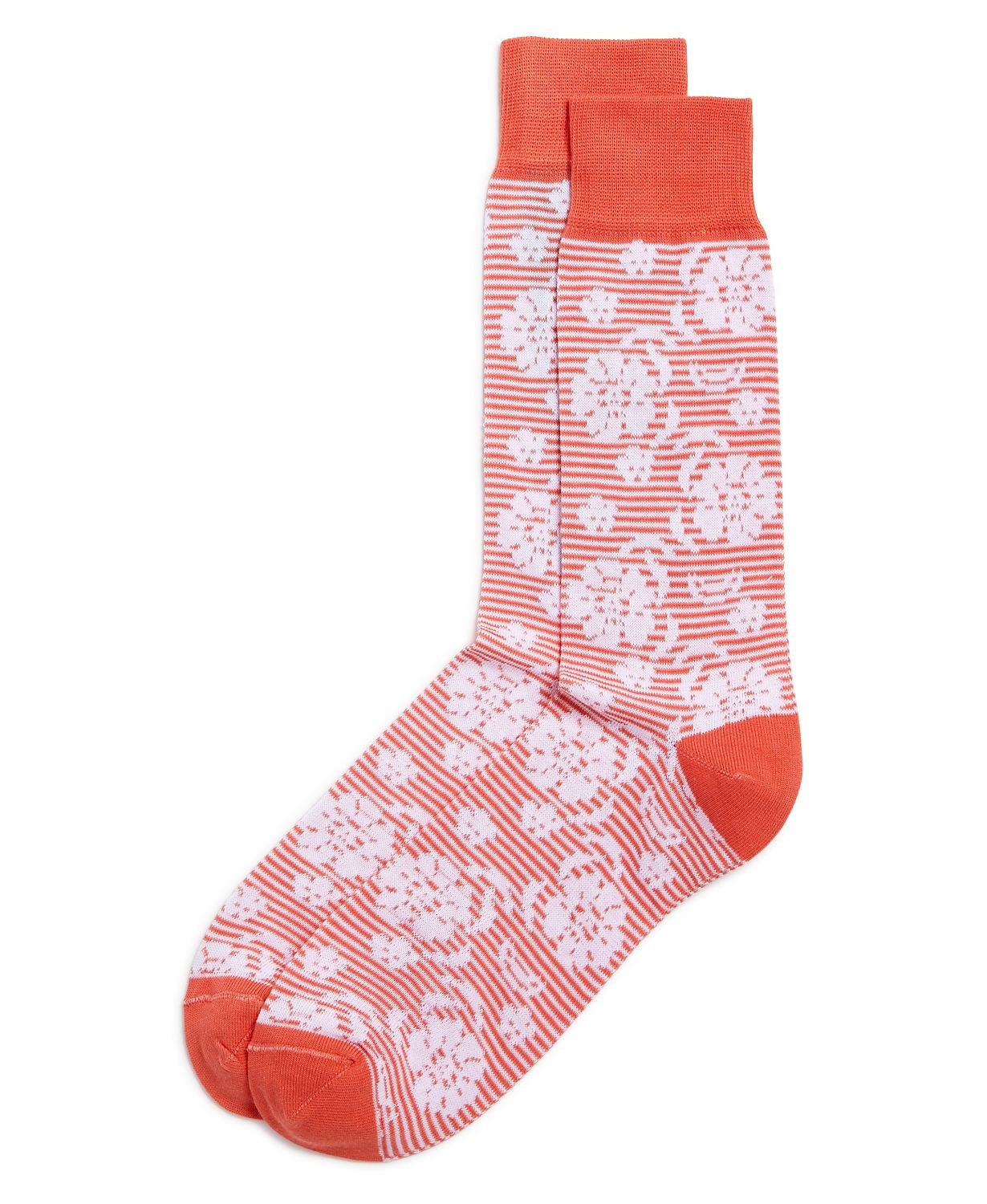 The Men's Store Striped Floral Socks Coral