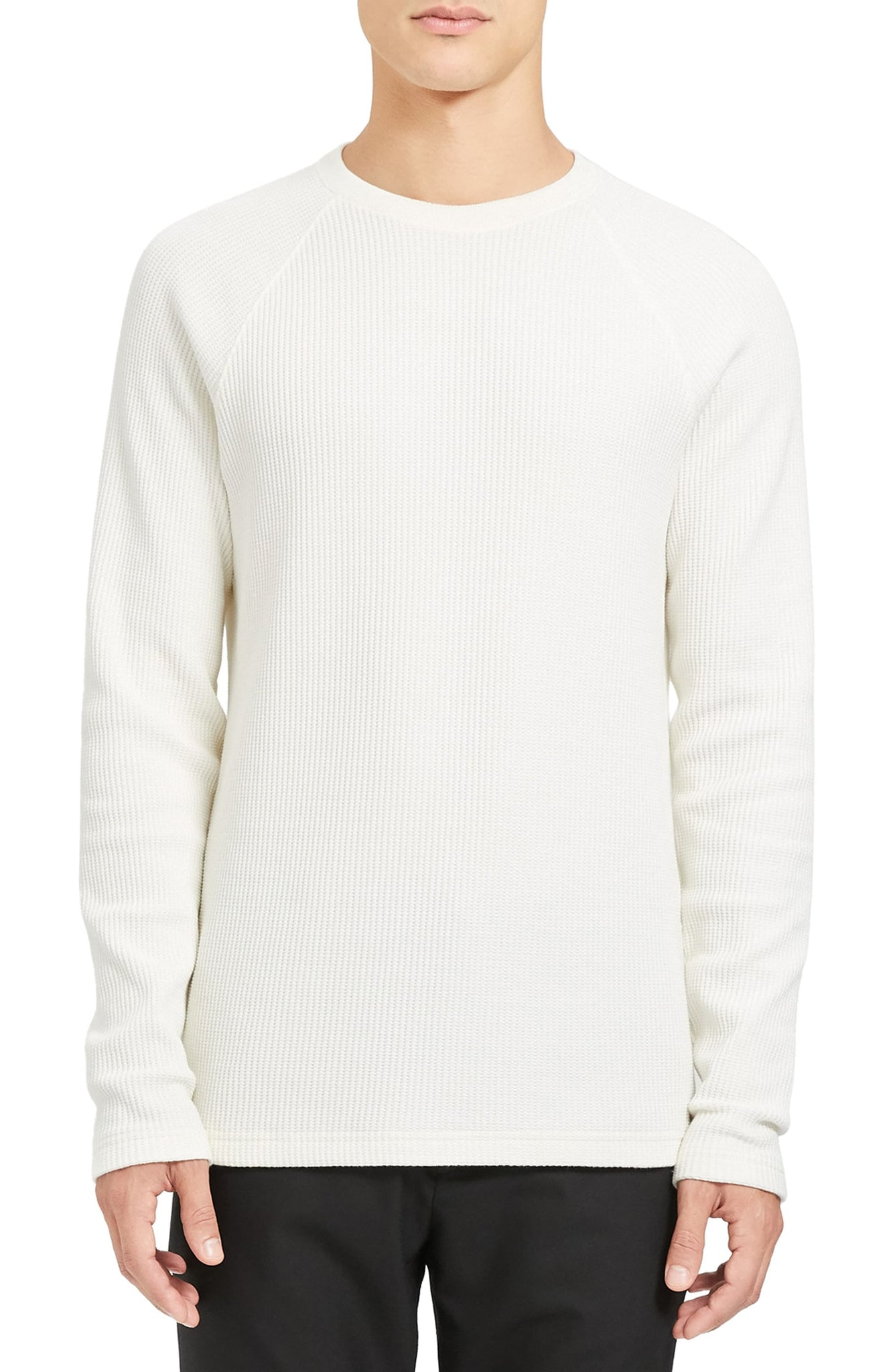 Theory River Thermal Stitch Long Sleeve Shirt White
