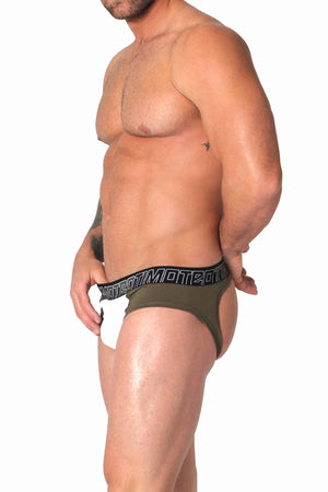 Timoteo Army-Green Aero-Tech Jock Brief