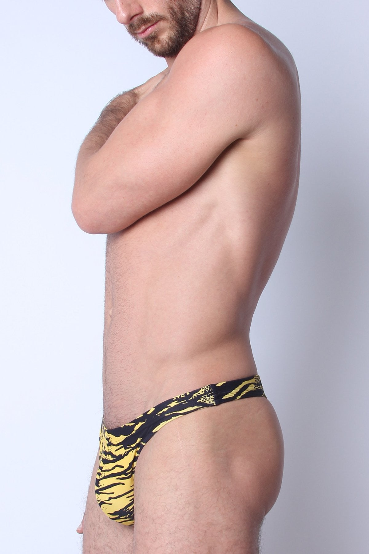 Timoteo Yellow Zebra Capri Swim Thong