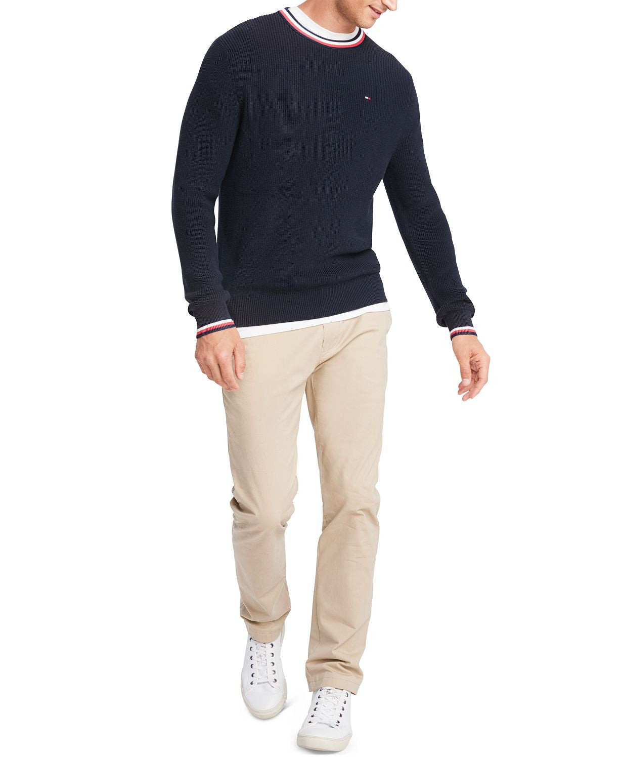 Tommy Hilfiger Geneva Regular-fit Tipped Ribbed-knit Sweater Navy