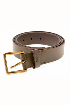 Tommy Hilfiger Olive-Brown Leather Belt