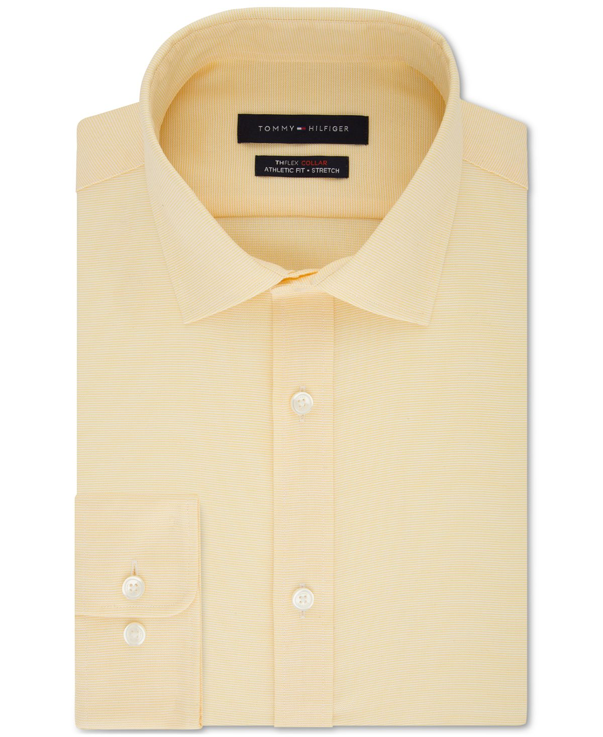 Tommy Hilfiger Th Flex Athletic Fit Non-iron Stretch Tonal Micro-stripe Dress Shirt Marigold