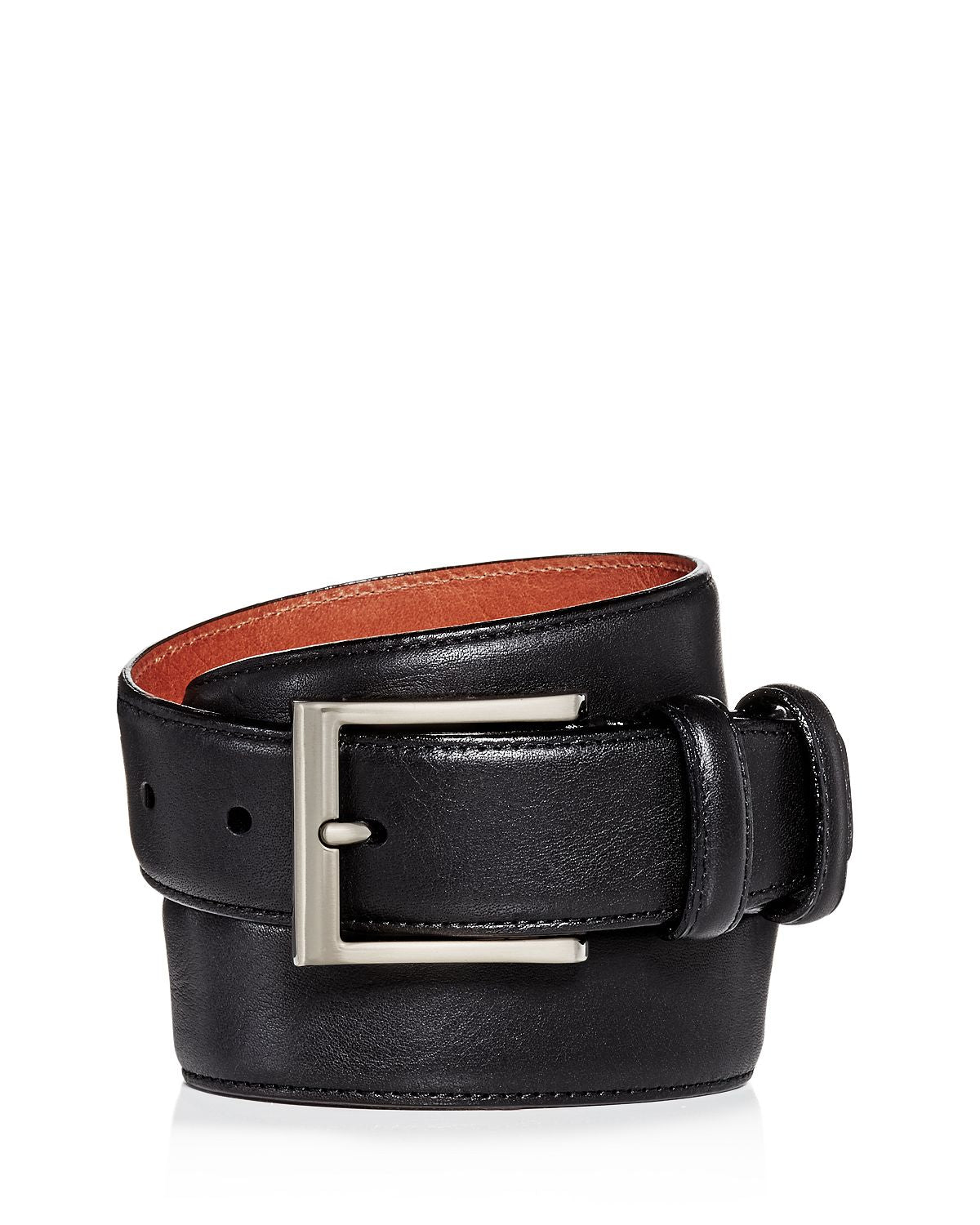 Trafalgar Corvino Double-keeper Leather Belt Black