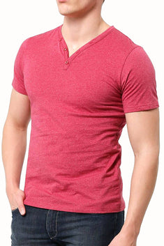 Trend Red Marle Y-Neck Henley Tee