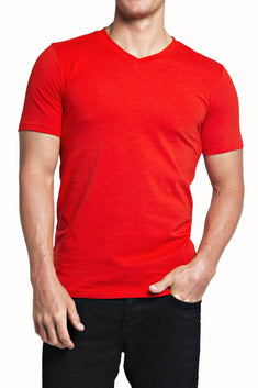Trend Red Stretch V-Neck Tee