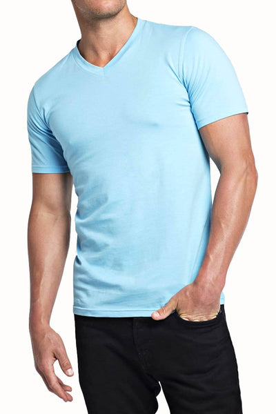 Trend Sky Blue Stretch V-Neck Tee - CheapUndies.com