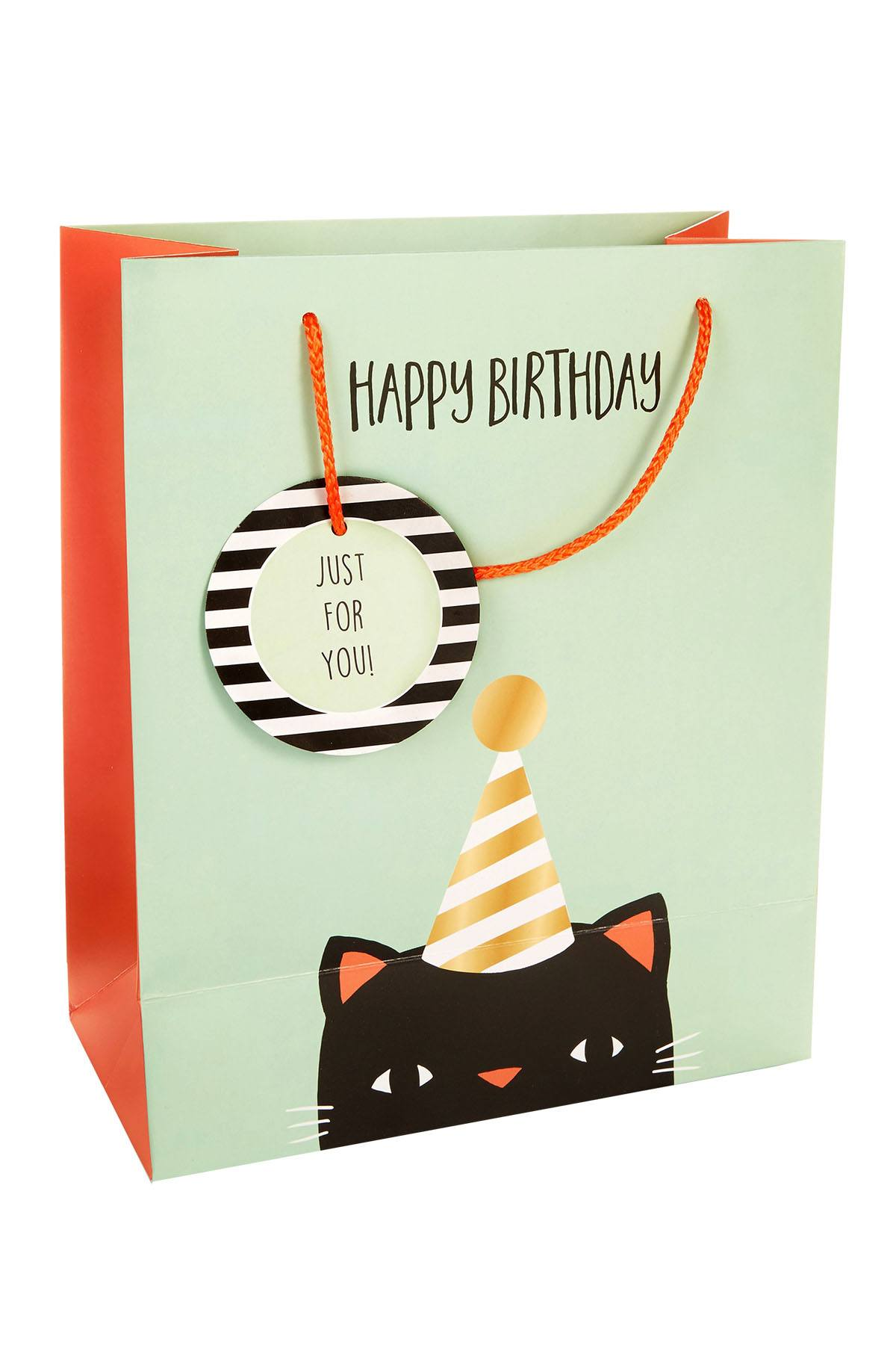 Tri-Coastal Design Mint/Black Happy Birthday Cat Gift Bag