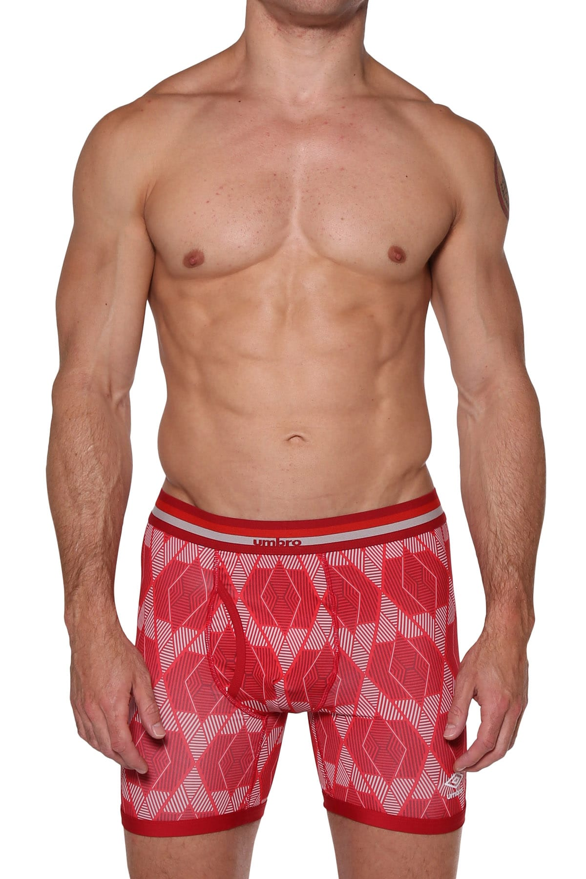 Umbro Red Geometric Performance Boxer Brief