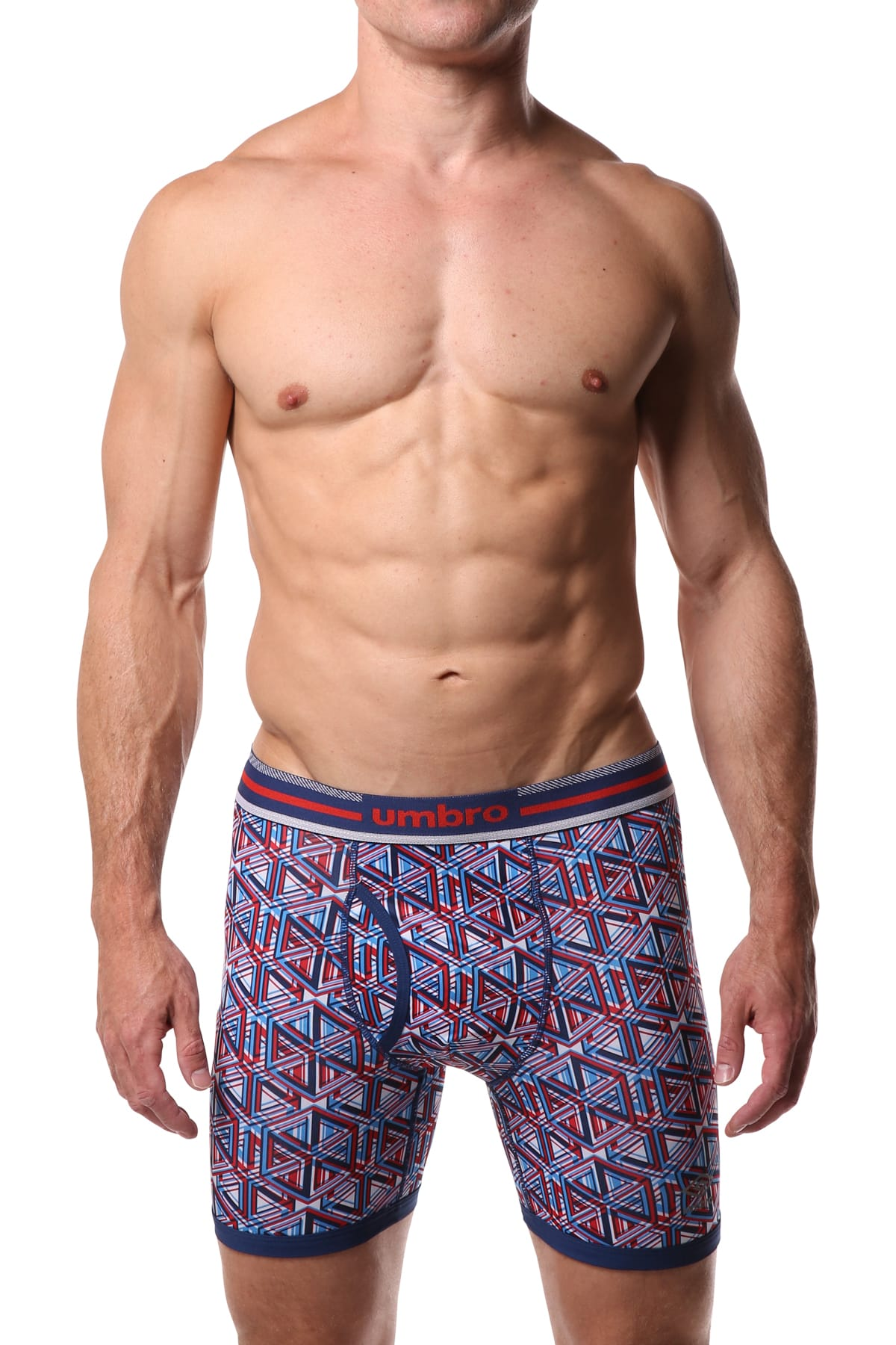 Umbro Red/White/Blue Geometric Performance Boxer Brief