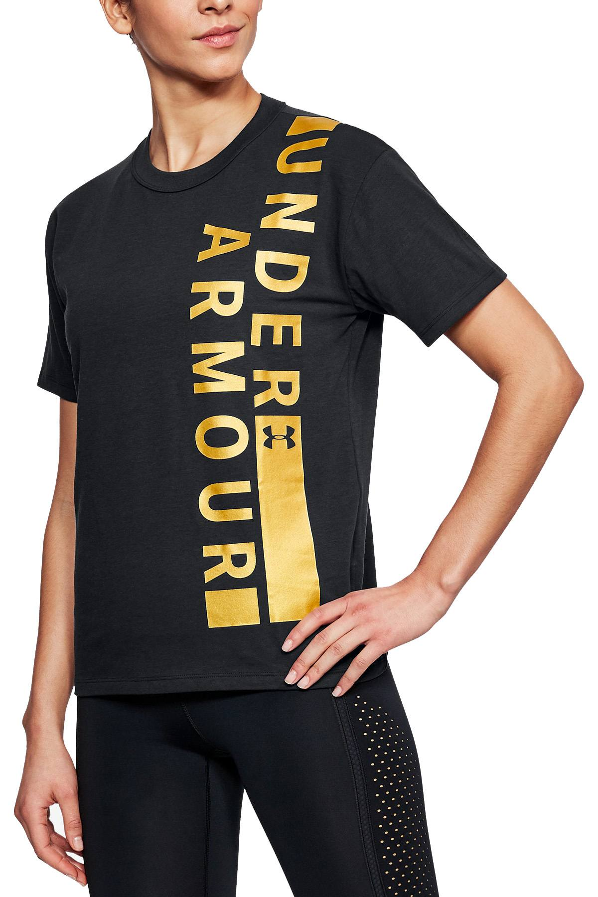 Under Armour Black/Gold Metallic Charged Cotton Girlfriend Tee