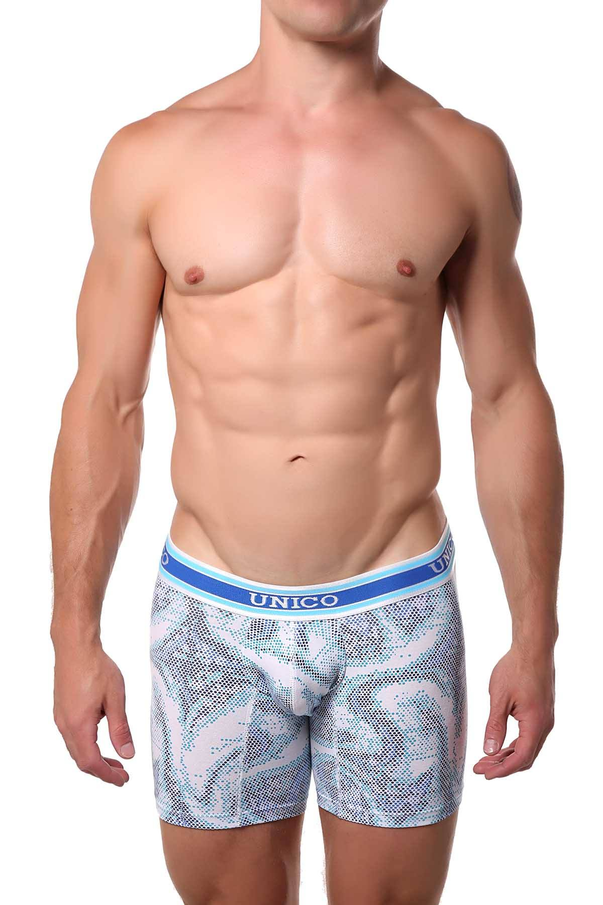 Unico Blue/White Asana Boxer Brief