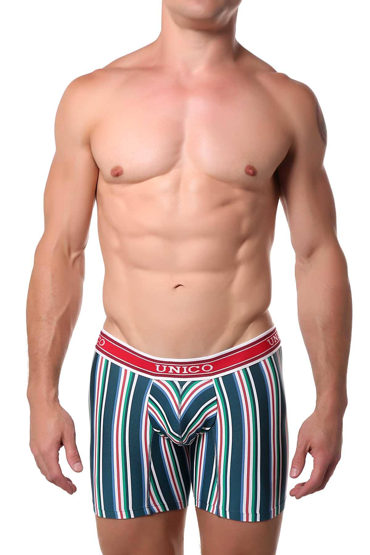 Unico Green/Red/Multi Striped Khalil Boxer Brief