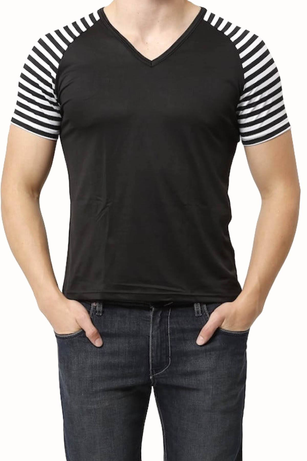 Vuthy Black Striped Raglan Tee