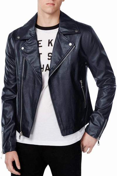 WHT SPACE By Shaun White Navy Faux-Leather Moto Jacket - CheapUndies.com