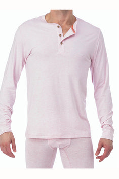 WOOD Pink Heather Long Sleeve Henley