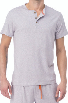 WOOD Violet Grey Short Sleeve Henley