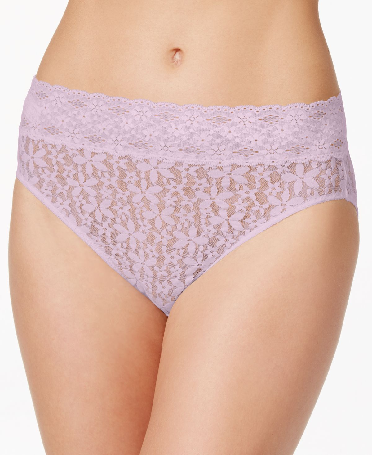 Wacoal Halo Sheer Lace Hi Cut Brief 870305 Lilac Snow