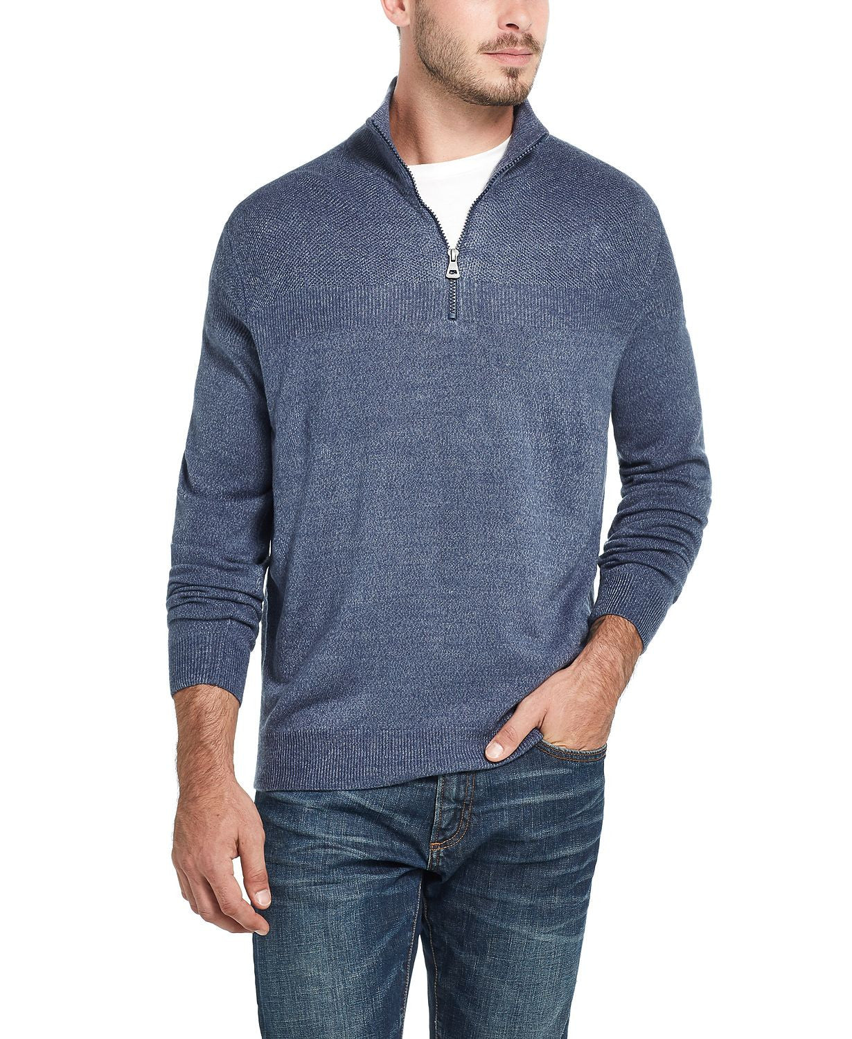 Weatherproof Vintage  Soft Touch Quarter-zip Sweater Med Blue