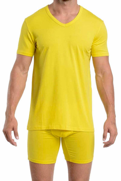 Wood Yellow V-Neck Shirt - CheapUndies.com