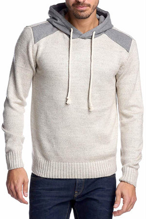 X-Ray Jeans Beige/Grey Hooded Knit Sweater - CheapUndies.com
