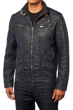 X-Ray Jeans Navy Distressed Faux-Leather Zip-Up Jacket
