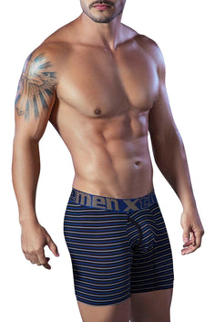 XTREMEN Black/Blue Open-Fly Microfiber Boxer Brief