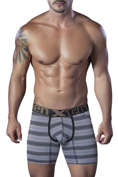 XTREMEN Black Microfiber Piping Boxer Brief