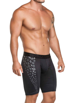 XTREMEN Black Microfiber Sports Long Boxer Brief