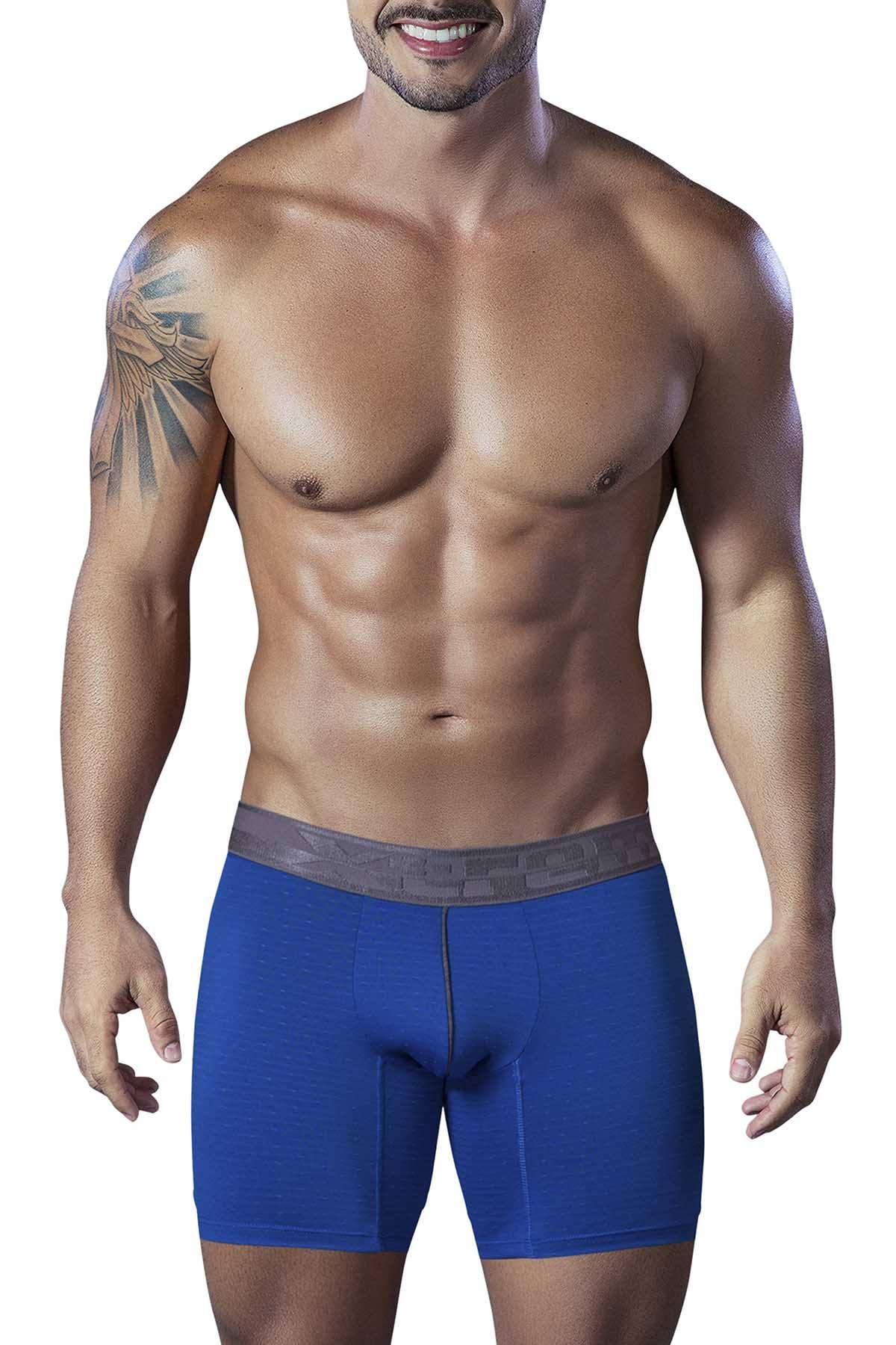XTREMEN Blue Microfiber Jacquard Athletic Boxer Brief
