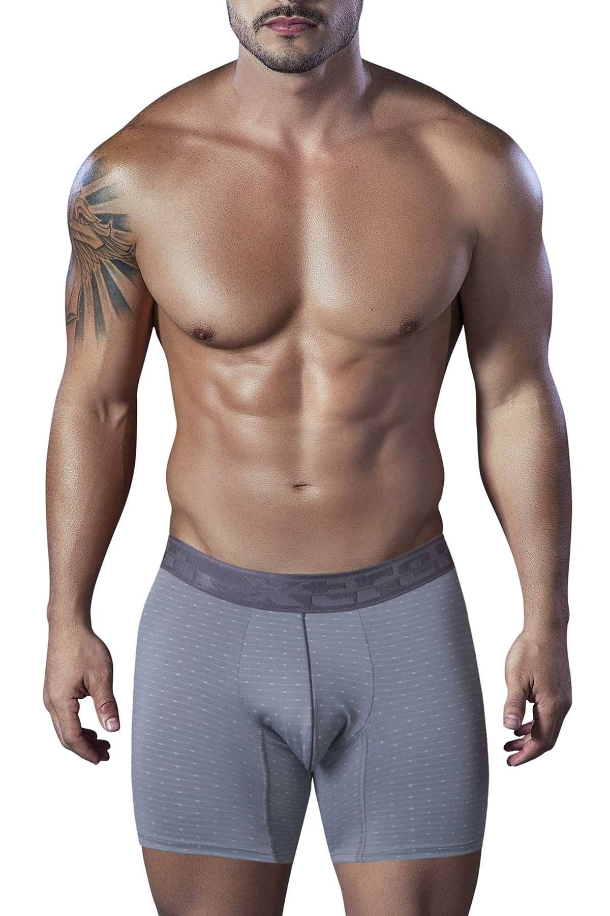 XTREMEN Grey Microfiber Jacquard Athletic Boxer Brief