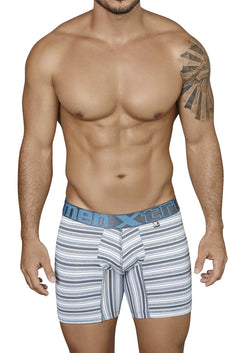 XTREMEN Grey/White/Blue Striped Microfiber Boxer Brief