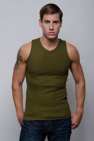 Jocko Army Green Thermal V-Neck Tank