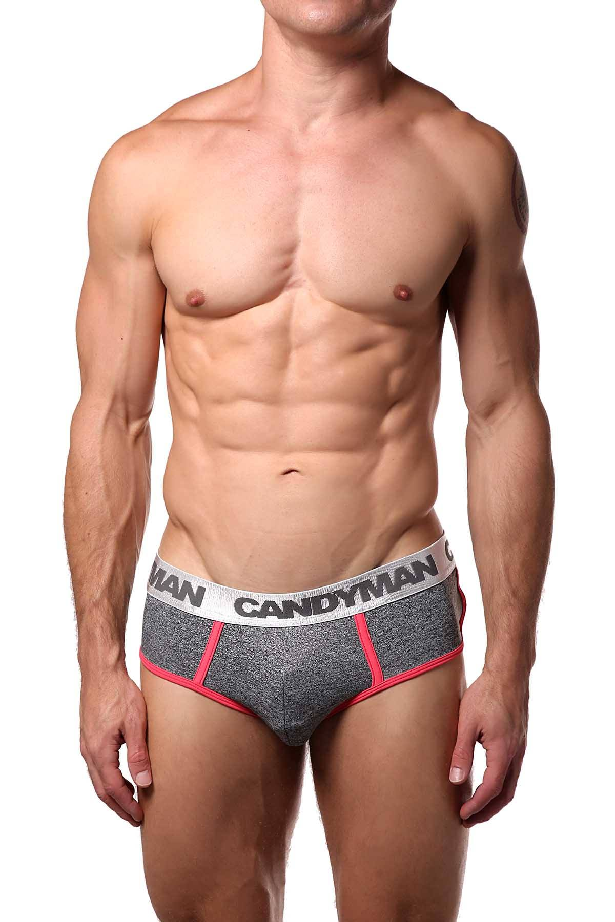 Candyman Grey/Pink Heathered Brief